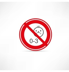 prohibited from using children under three years vector image