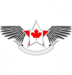 Winged star with canadian flag vector