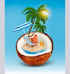 Vacation concept palm tree suitcase and an vector