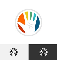 Colorful hand logo vector image