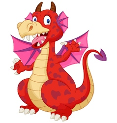 Red cartoon dragon vector