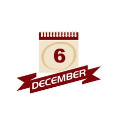 6 december calendar with ribbon vector