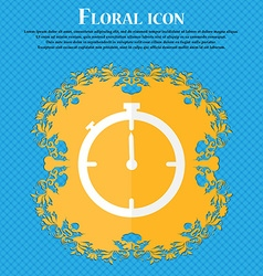 Timer sign icon stopwatch symbol floral flat vector