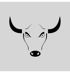 Flat in black and white angry bull vector