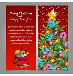 Two cards with christmas tree and bag with gifts vector