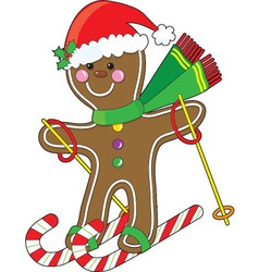 Gingerbread skier vector
