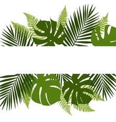 Tropical leaves background with white banner vector