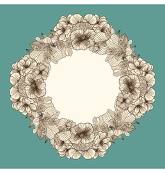 Frame made of vintage flowers vector