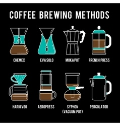 8 coffee brewing methods icons set Different ways vector image vector image