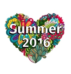 Doodle flowers heart with summer 2016 text vector