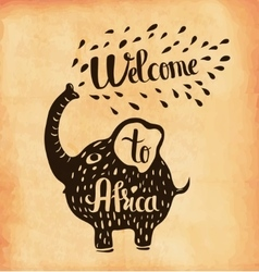 A poster on aged paper a trip to africa safari vector
