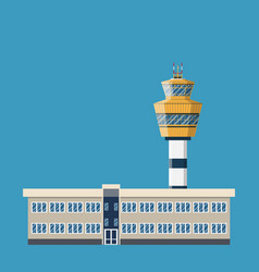 Airport control tower and terminal building vector