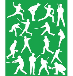 Baseball silhouettes vector image vector image