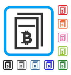 Bitcoin price pages framed icon vector