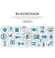 Blockchain network linear style infographics vector