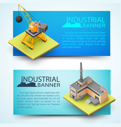 Building equipment and factory banners vector