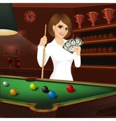 Business woman holding cue stick vector