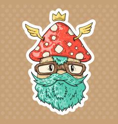 cartoon hipster mushroom vector image