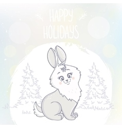cute bunny character vector image vector image