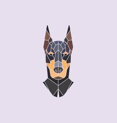 Doberman head polygonal background vector