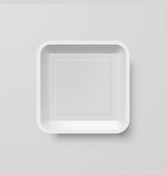 empty white plastic food square container on gray vector image vector image
