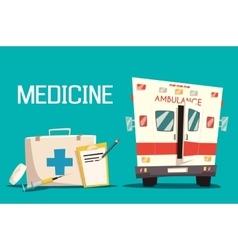 First aid kit and ambulance car syringe pill vector