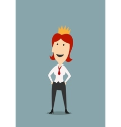 Happy businesswoman wearing in gold crown vector