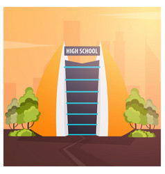 High school modern building in flat style isolated vector