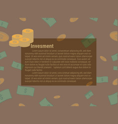 Investment board with cash and coin pattern vector