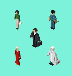 Isometric people set of female medic officer and vector
