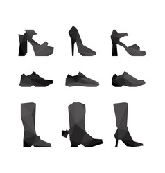 Large set with shoes in polygonal style vector