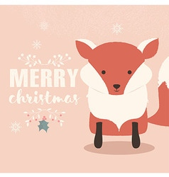 Merry christmas postcard with cute orange fox vector