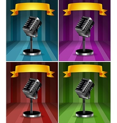 Microphones in four background colors vector image