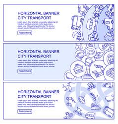 Monochrome city transport horizontal banners vector