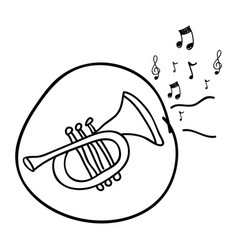 monochrome hand drawing of trumpet in circle and vector image