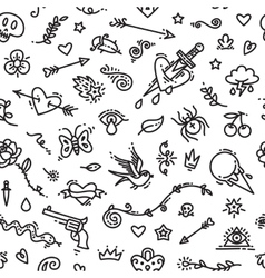 Old school tattoo seamless pattern vector