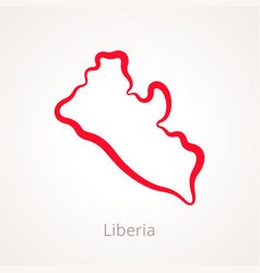 Outline map of liberia marked with red line vector
