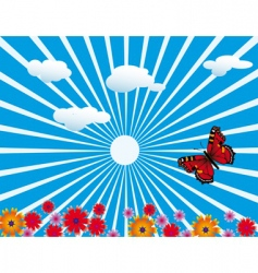 red butterfly on flowering meadow vector image