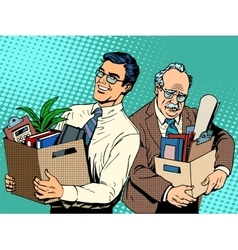 Retired business concept job search and dismissal vector