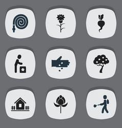 Set of 9 editable garden icons includes symbols vector