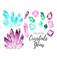 Set of crystals and gems vector