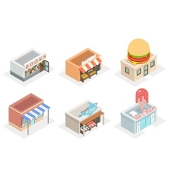 shops and stores 3d isometric icons vector image