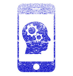 Smartphone intellect gears textured icon vector