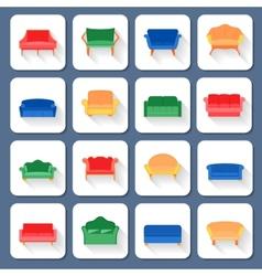 Sofa Icons Flat vector image vector image