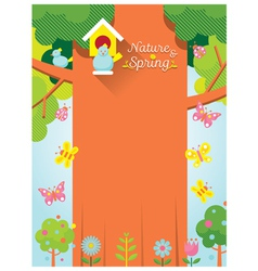 Spring Season Background with Bird and Big Tree vector image