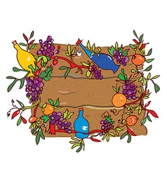 Wooden frame with grape and wine vector image vector image