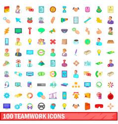 100 teamwork icons set cartoon style vector