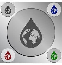 Earth in water-drop vector