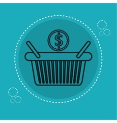 Basket shopping with money icon vector