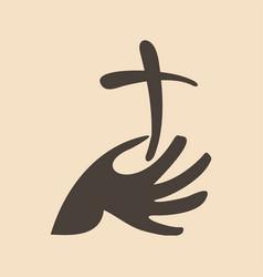 the cross of jesus in hand vector image
